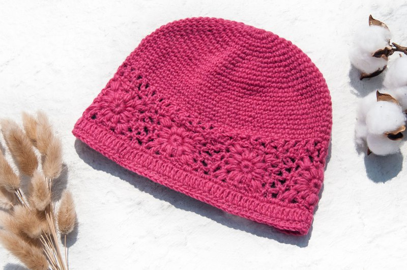 Hand-knitted pure wool cap / knit hat / knitted fur cap / inner brush hair flower cap / wool cap - pink