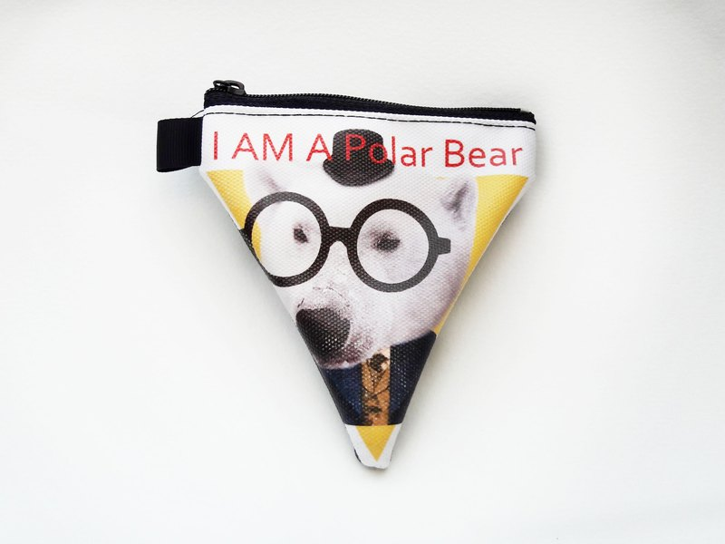 | I AM PARTY | Handmade Oil Canvas Triangle Wallet - Polar Bear Detective [Buy to send brand badge or leisure card stickers x1]