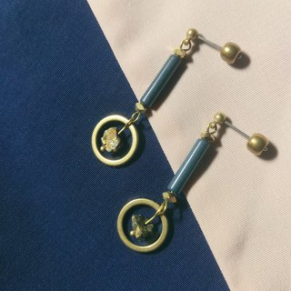 Gray blue and yellow ceramic tube brass iron ore earrings