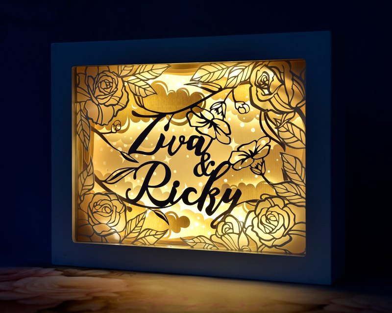 Handmade Customized Personalized LED Shadow Box Lamp, Rose Theme