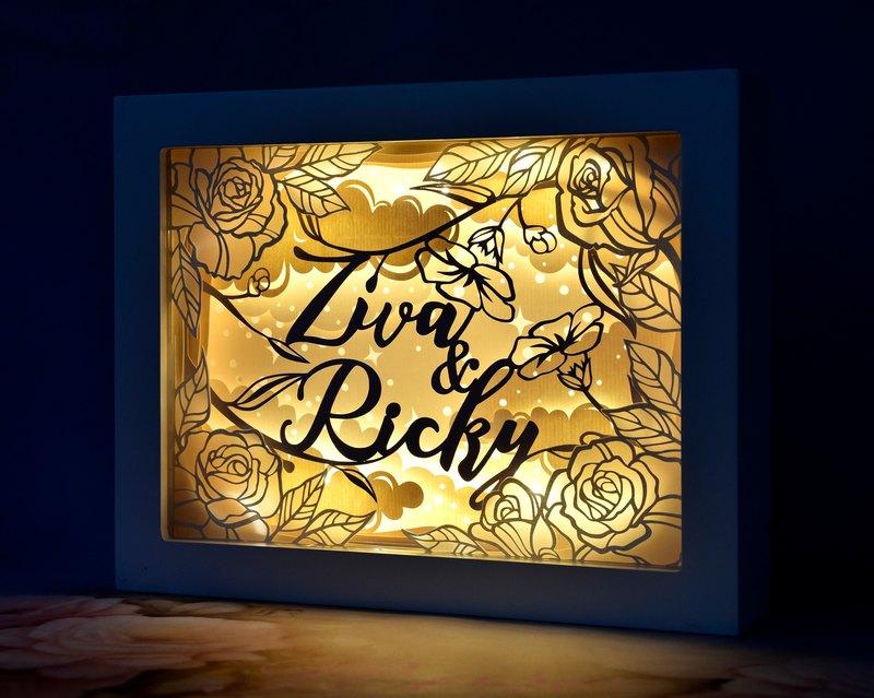 簡約玫瑰花主題 // 手工客製化名字特式LED紙雕燈 // 結婚禮物