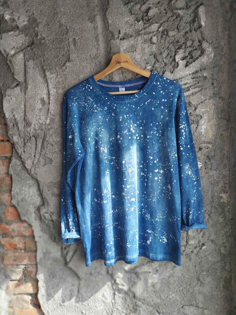 Easy to dye isvara handmade blue dyeing universe series galactic cotton T-shirt