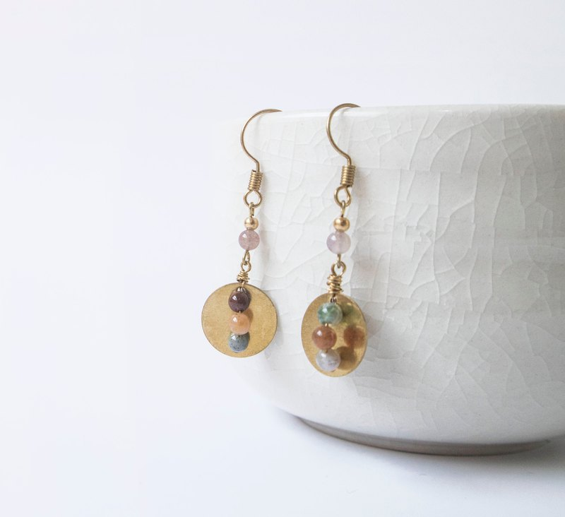 Find it / Bingo - Colorful jade brass earrings
