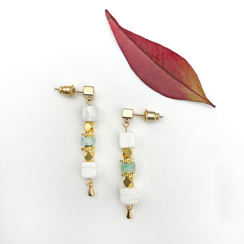 Modern Marble 14KGF Earrings 【Natural Stone】【Jade 14kgf Earrings】Geometric Brass