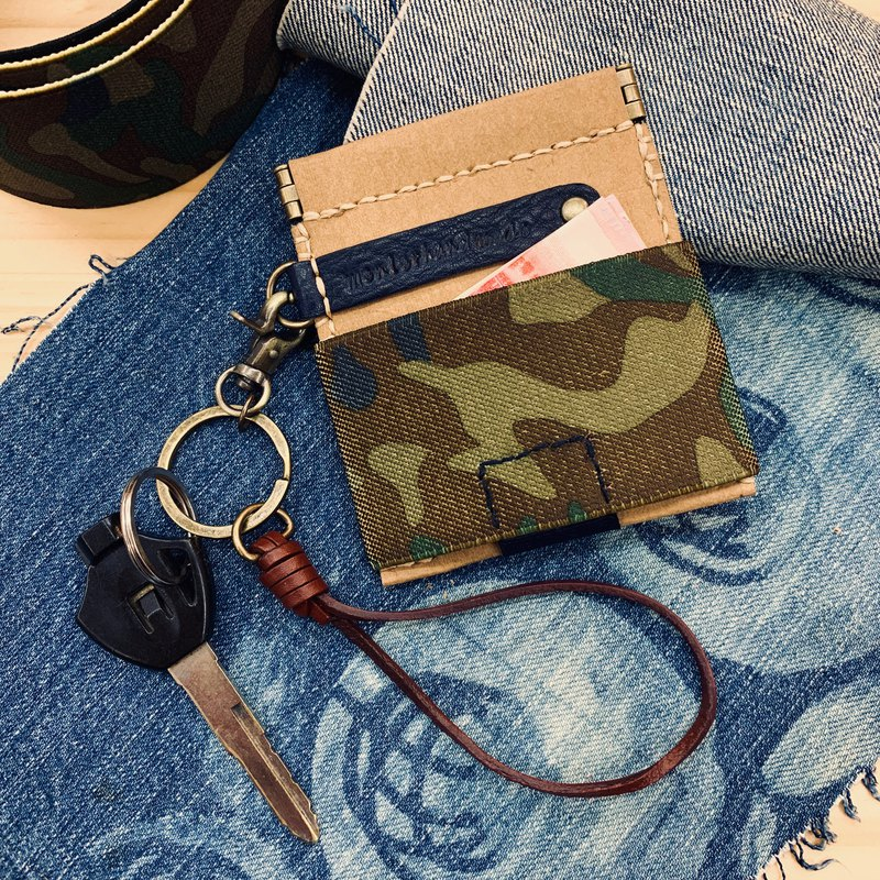 Eco-friendly washed kraft paper shrapnel coin purse with leather keychain / free printing in English