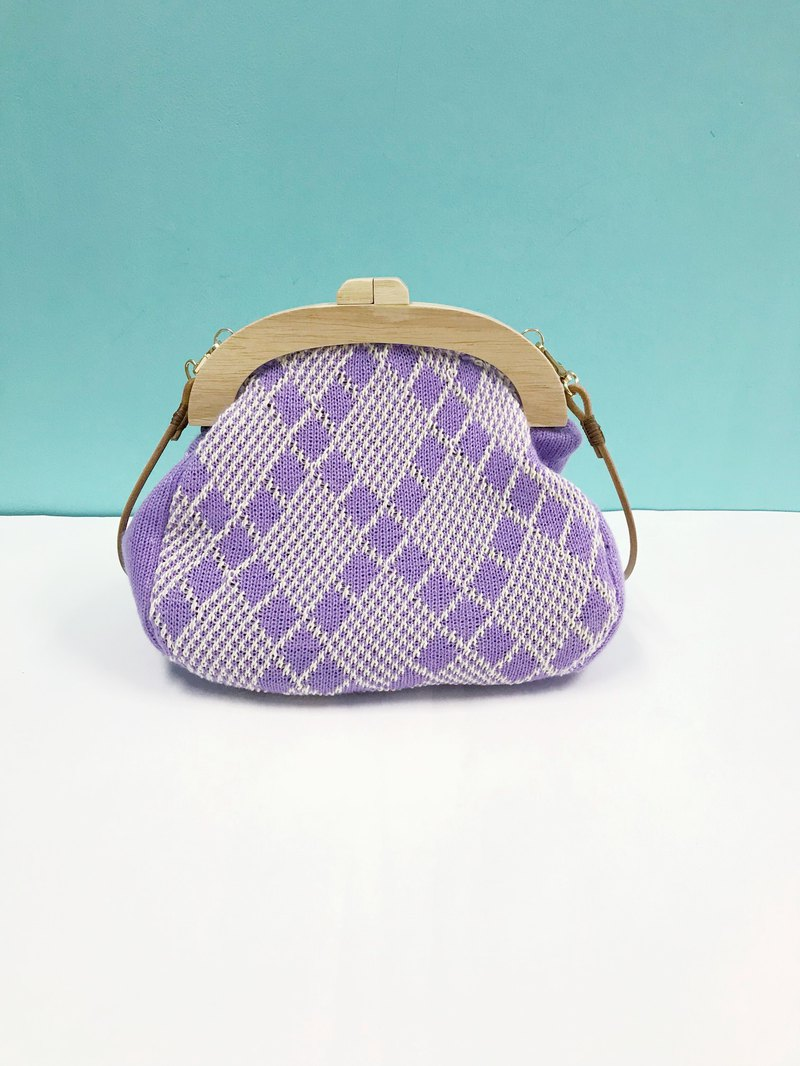 Purple checks pattern cross body bag