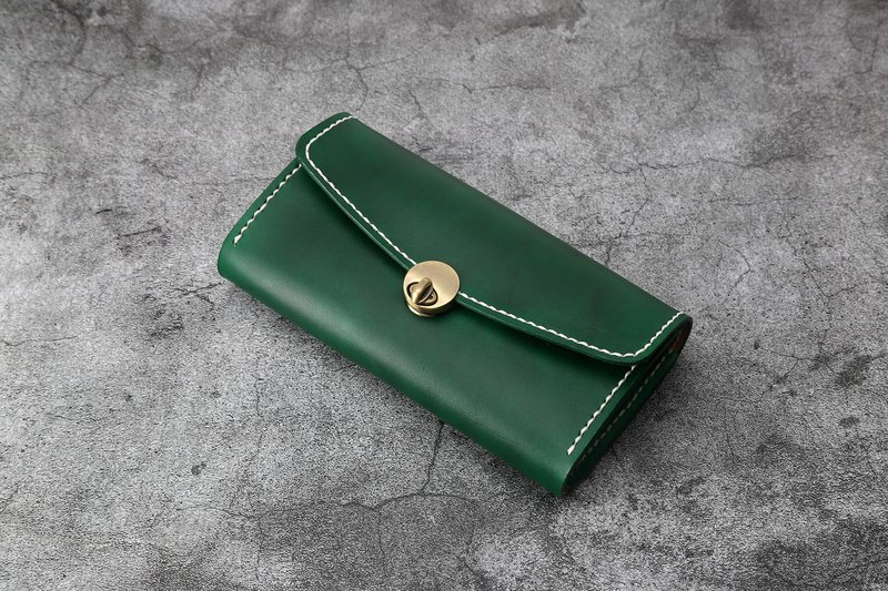 [Tangent Pie] Handmade leather ladies wallet knob section clutch bag long wallet malachite green