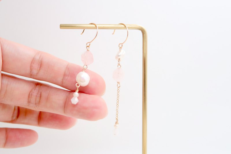 Faceted Rose Quartz/Baroque Pearls/Asymmetrical Dangling Earrings/14K GF/Clip-on