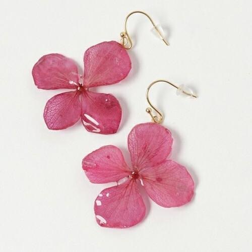 Hydrangea hook earrings*wine*