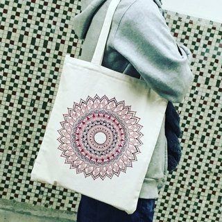 Quality hand-painted hand-painted shoulder bags cotton bag Rose Hyacinth inside zip Henna Mandala design Mandala Zen painting Hanna Man pedicle about ethnic Indian painted canvas