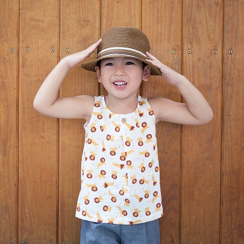 Little lion sleeveless vest _ white _ child models