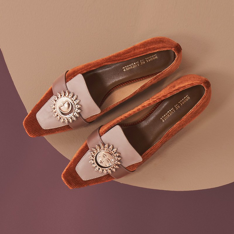 HOA | Small Square Toe Retro Colorblock Loafers | Orange Brown | 5372 |