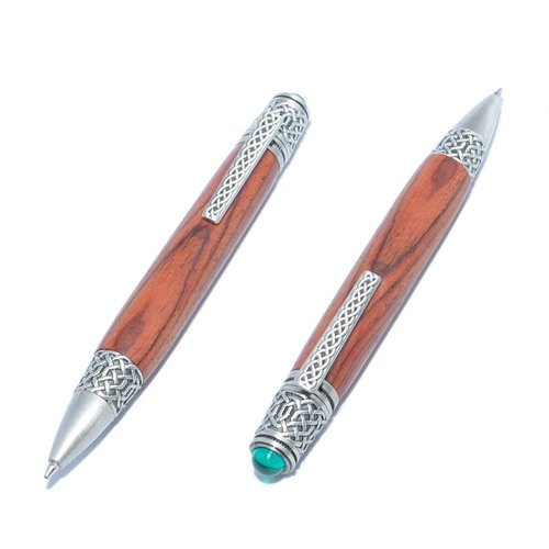 【Made to order】 Celtic Motives Handmade Wooden Ballpoint Twist Pen (Cocobolo, Pewter plating)