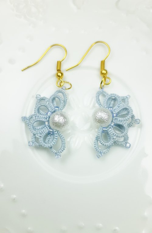 Littlest Things Tatting a Little Thing Light Blue Orchid Earrings