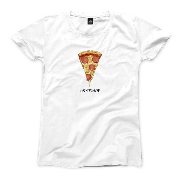 Hawaiian pizza - white - female version of T-shirt