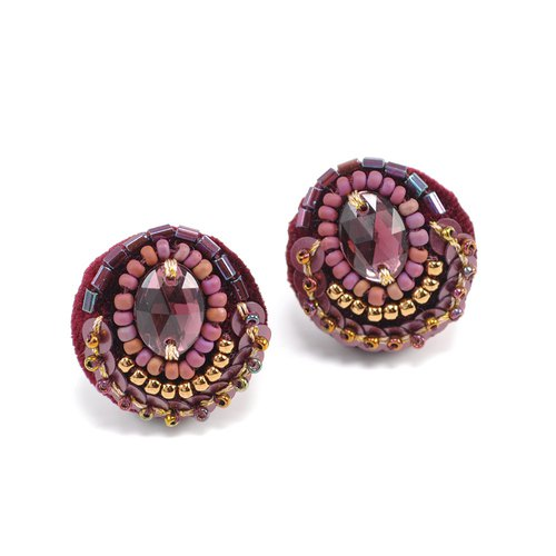 statement and sparkle beaded circle earrings, gorgeous earrings,No.1