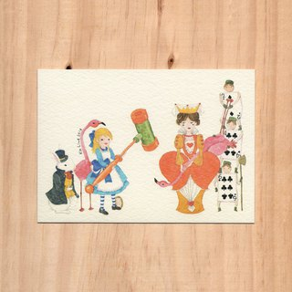 """Hong Kong Toys x Fairy Tales - Plastic Hammer x Alice"" Watercolor illustration postcard"