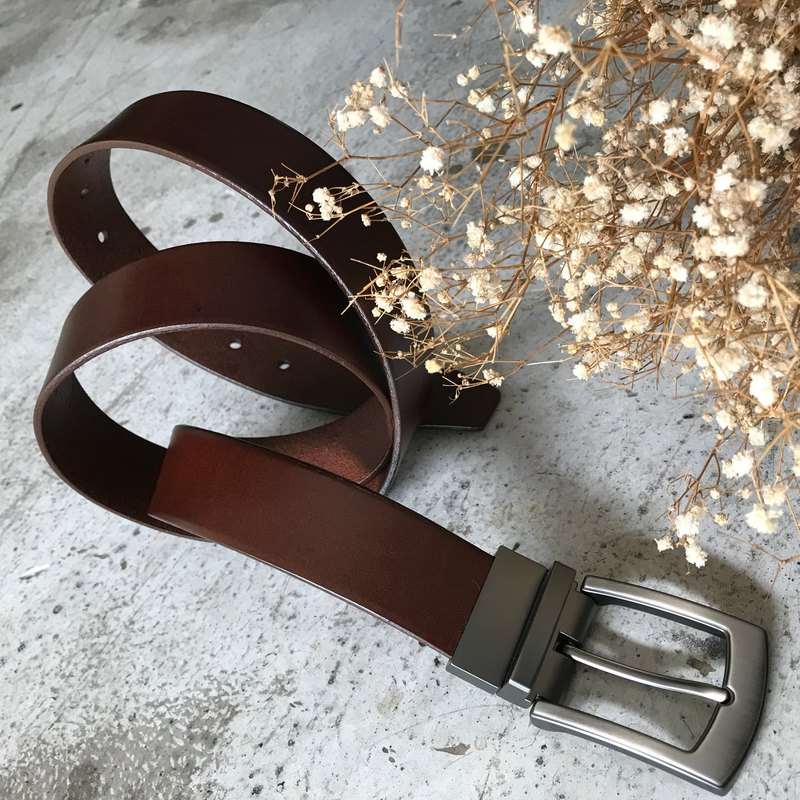 Classic Plain-Vegetable Tanned Leather 3.5cm Wide Leather Belt Belt