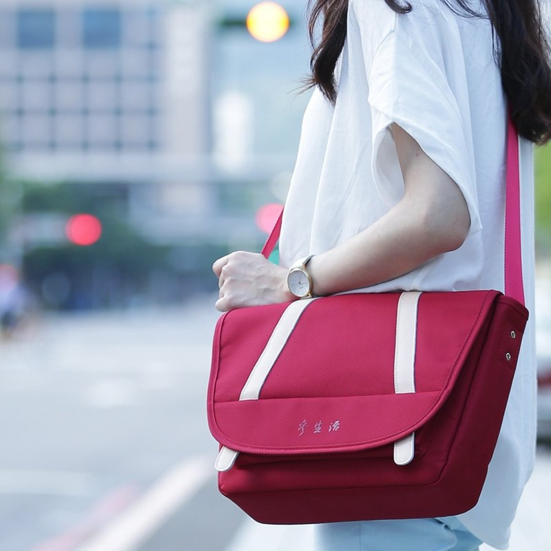 Red simple side messenger bag classic simple