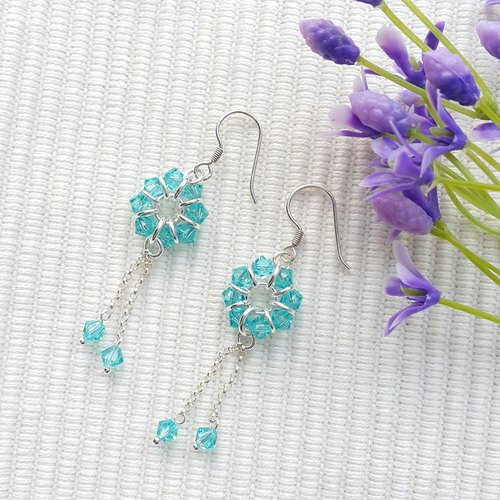 Clear Blue Hanging Crystal Earrings