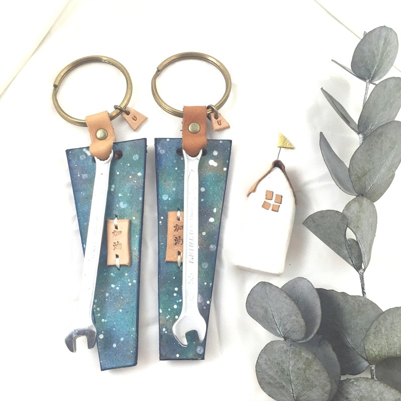A pair of wrench | leather keychains - No sweat! - Pacific blue color