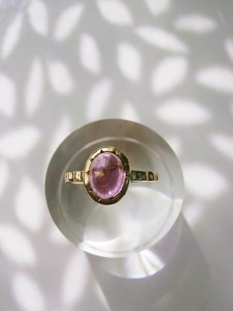 Pink tourmaline and K14 of the ring