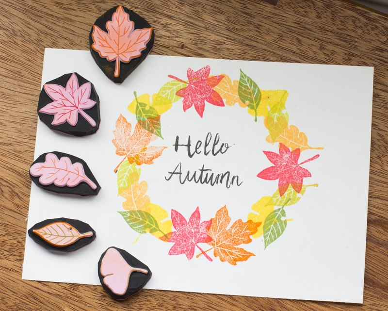 Autumn leaves combination hand engraved rubber stamp group account card