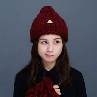 【MOUNTAIN HAND MADE】100% wool beanie /Burgundy