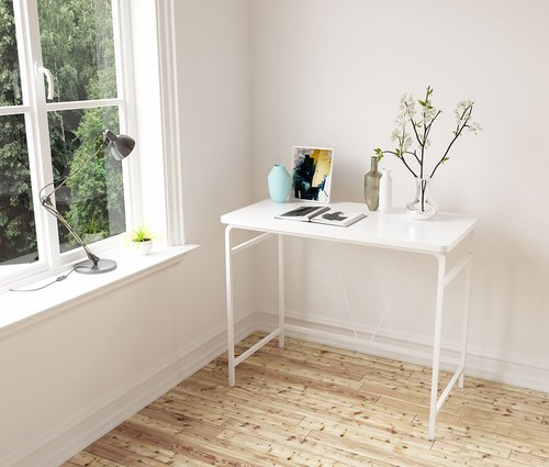 Line feeling simple white wood desk