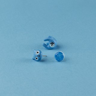 Blue Polymer Clay Earrings - Blue Spring Cat Earrings