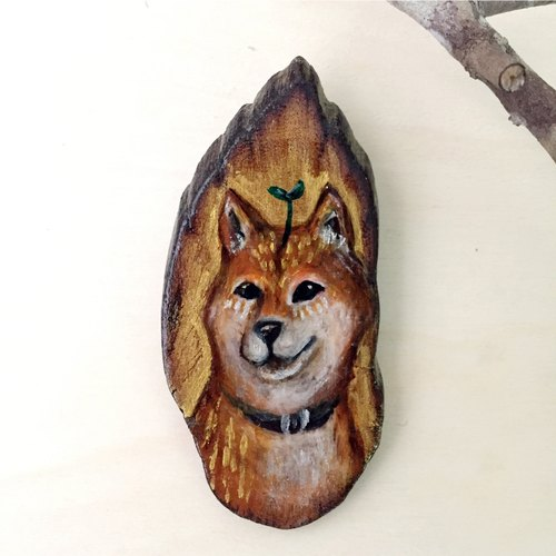 Handpainted Shiba Inu ironwood Badge