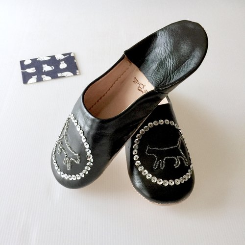 Babouche Leather Slippers/Gatto Black color/猫/拖鞋