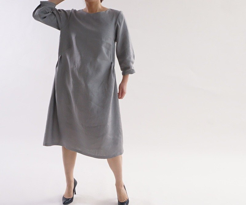 Belgium linen side tuck Piece / gray a1-12