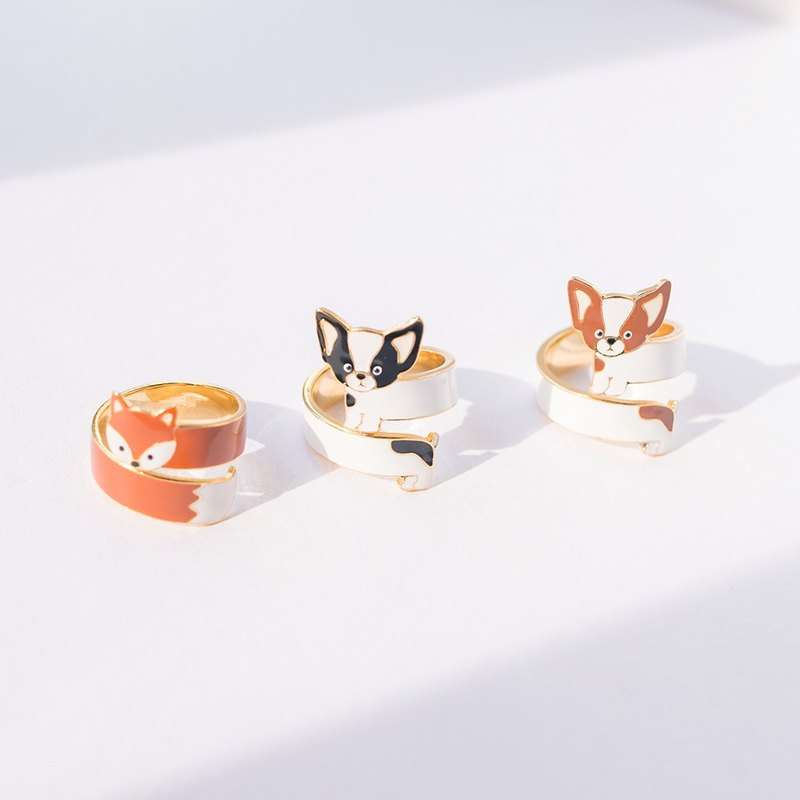 Chihuahua and fox hand-adjustable three-dimensional ring