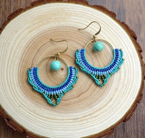 Misssheep-A77 - Bohemian ethnic style wax cord braided brass turquoise Japanese pearl earrings (ear hook / ear clip)