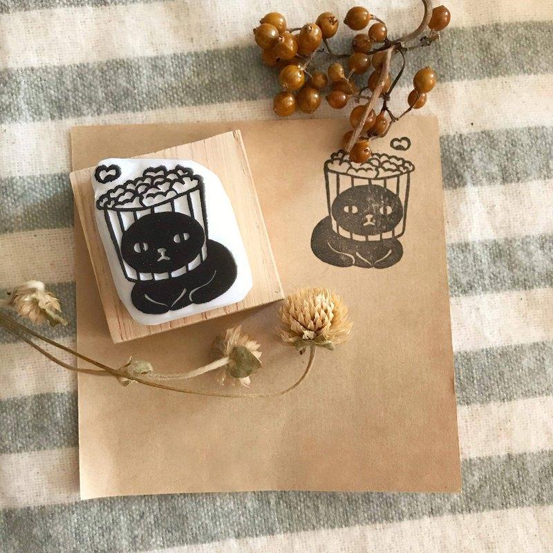 Hand Made Rubber Stamp Head Cover Cat Series-Popcorn