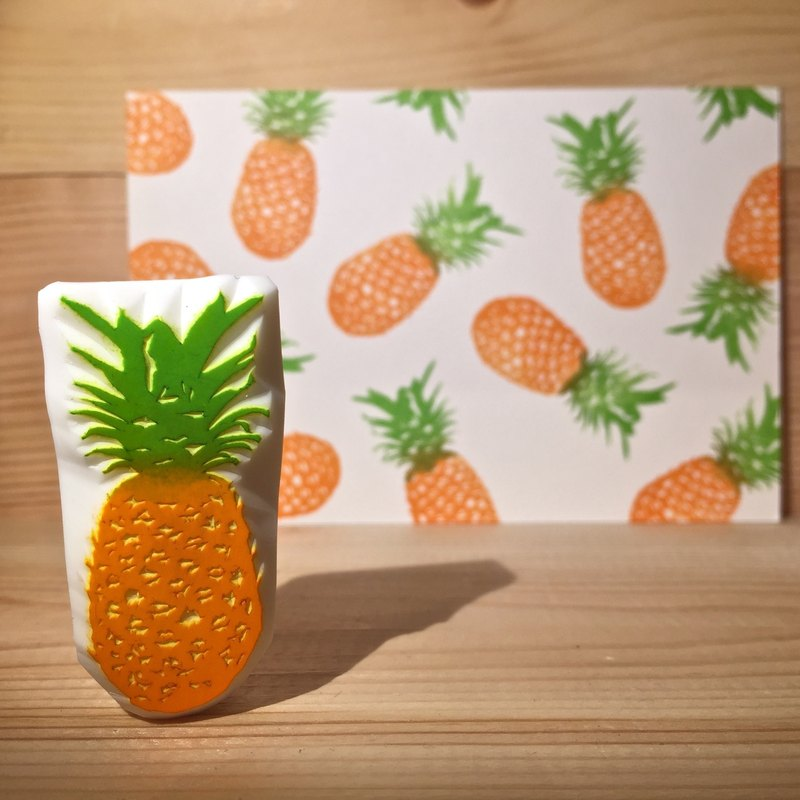 Handmade stamp with postcard(pineapple)