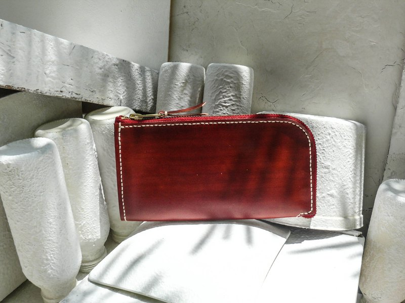 Do not hit the wine red vegetable tanned leather full leather universal wallet