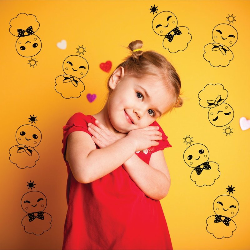 """Smart Design"" Creative Sunny Doll Seamless wall stickers ◆ 8 color options"
