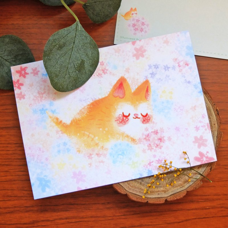 Cat Hydrangea Field-Illustration Postcard