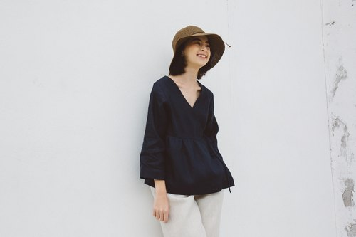 Linen Wrap top with Long sleeves in Navy
