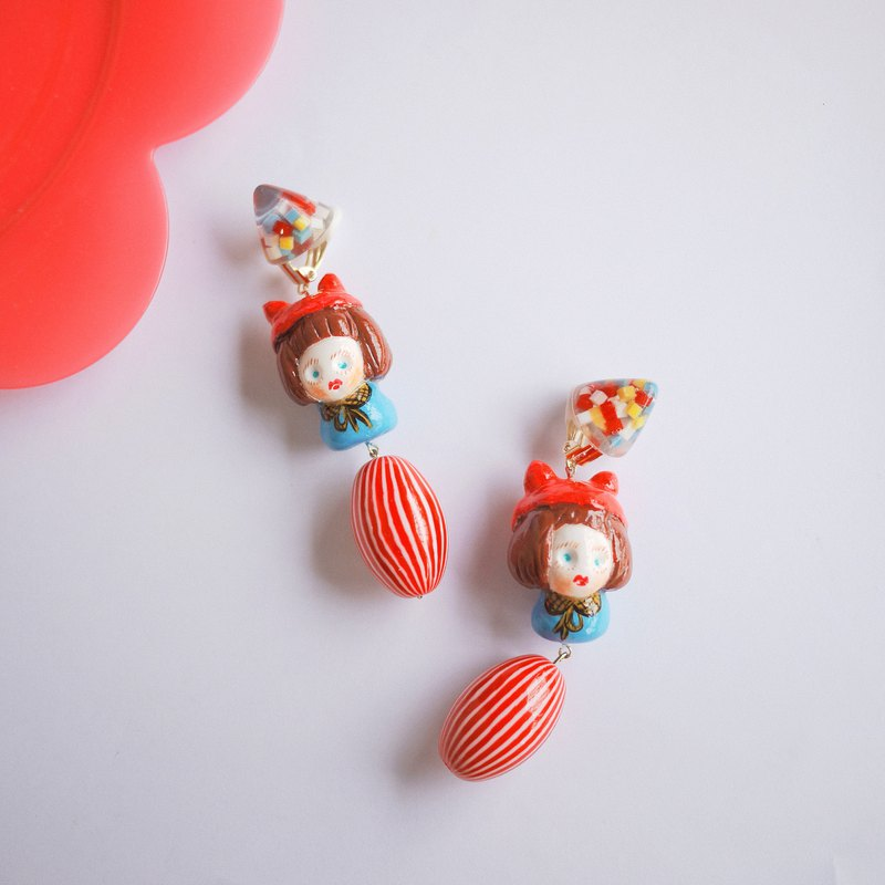 Handmade clay fun color cat tiara girl earrings ear clip
