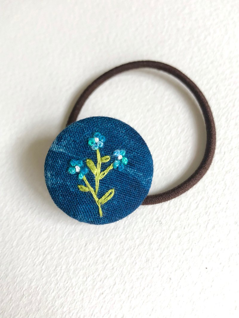 Plant series embroidery hair ring blue flower