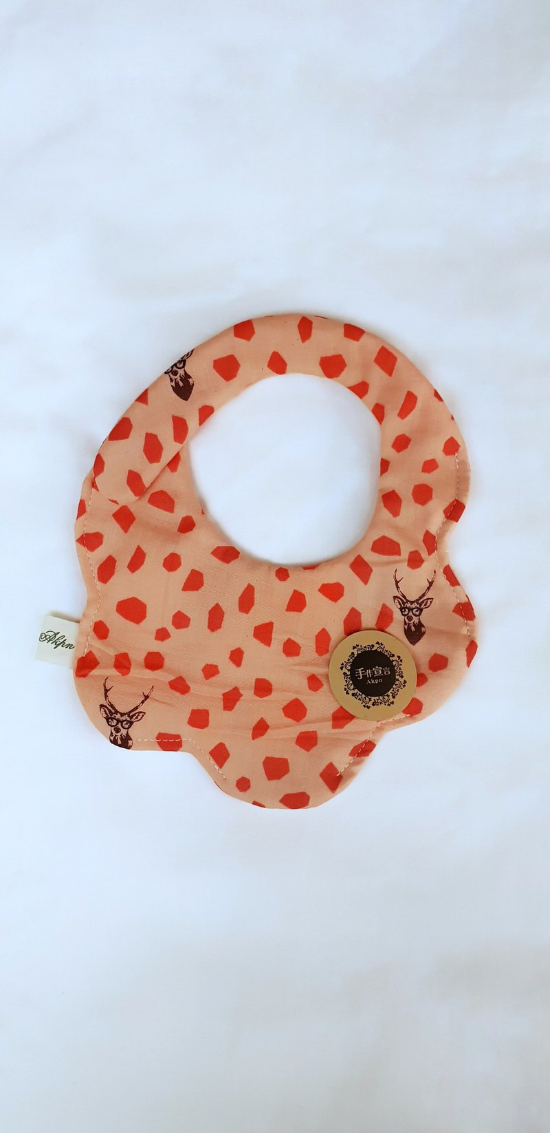 Gujia Yuezi designer cloth - powder skin orange - Sambar - eight layers of yarn 100% cotton shape bibs saliva towel