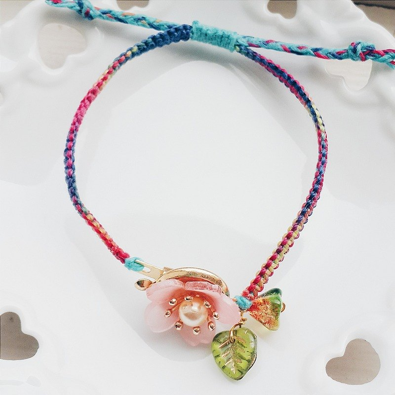 Momolico cherry blossom braided bracelet summer resizable