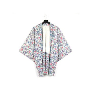 Back to Green-Japan brought back feather weaving baby blue hand-painted flowers / vintage kimono