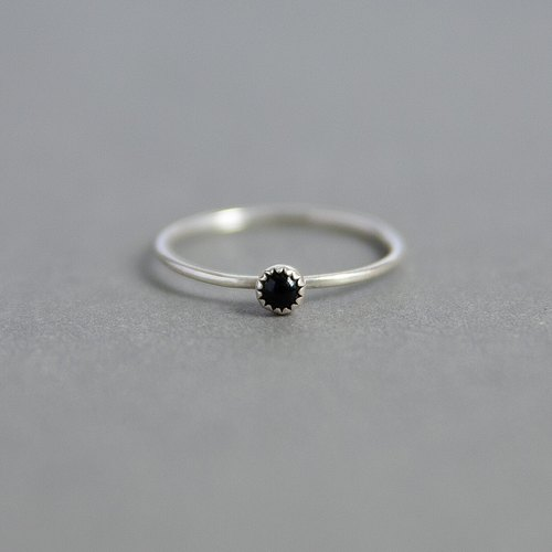 Tiny Black Onyx Sterling Silver Ring - Handmade 925 Silver Jewellery