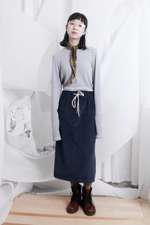 After MAODIUL dark blue corduroy elastic waist drawstring skirts slit Wen Qing Institute of wind