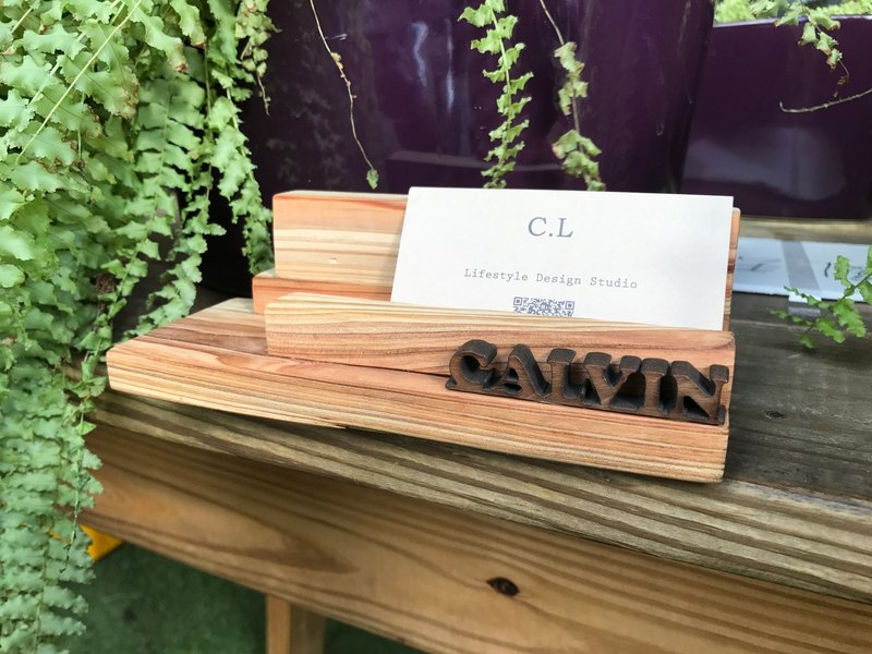 """CL Studio"" [modern simple - geometric style wooden mobile phone holder / business card holder] N50"