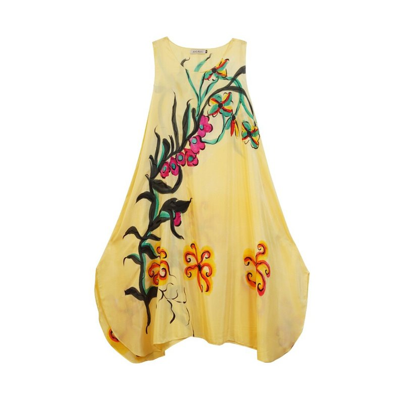 Dress Hand Paint Soft Cotton for Yoga Vacation Holidays Summer Beach S,M,L,XL